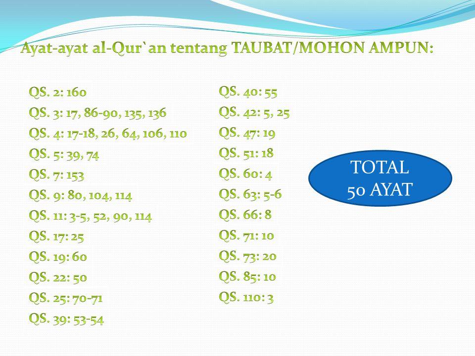 TOTAL 50 AYAT Ayat-ayat al-Qur`an tentang TAUBAT/MOHON AMPUN:
