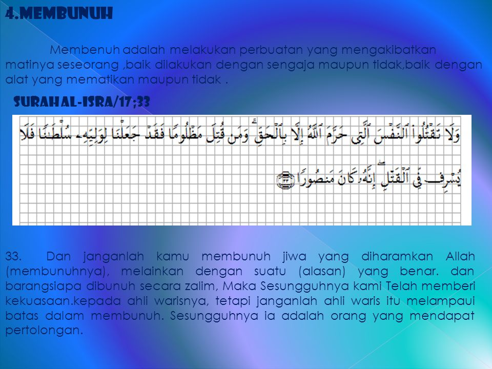4.Membunuh Surah al-Isra/17;33