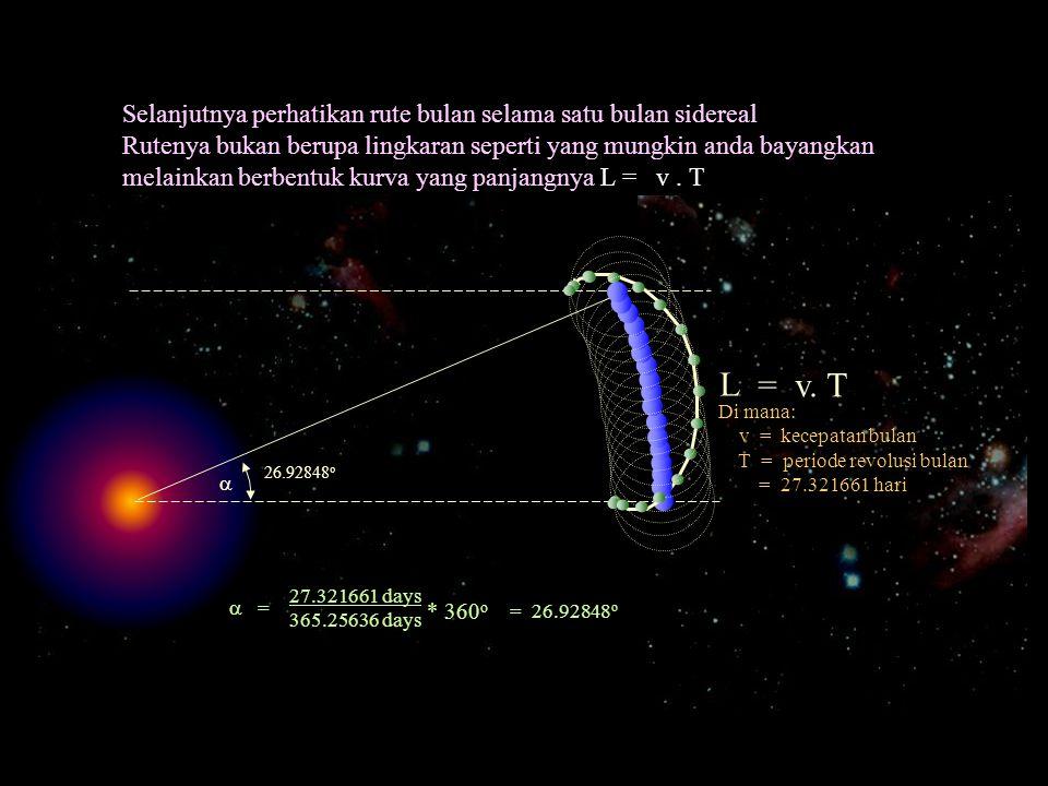 L = v. T Selanjutnya perhatikan rute bulan selama satu bulan sidereal