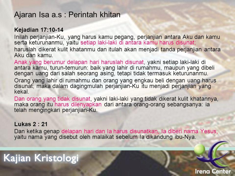 Ajaran Isa a.s : Perintah khitan