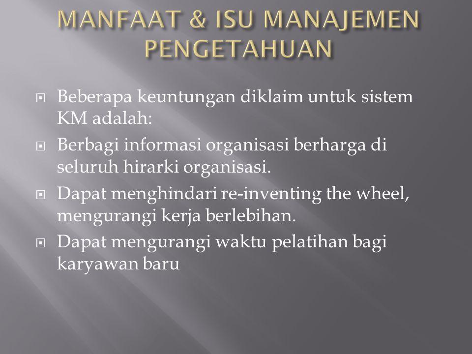 Manfaat & Isu manajemen pengetahuan
