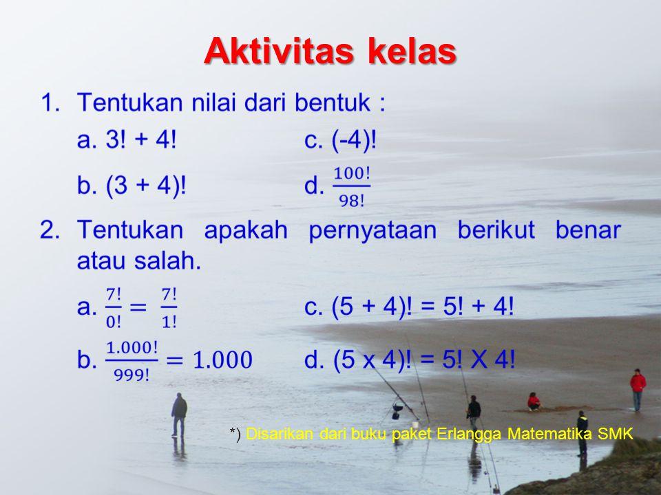 Aktivitas kelas *) Disarikan dari buku paket Erlangga Matematika SMK