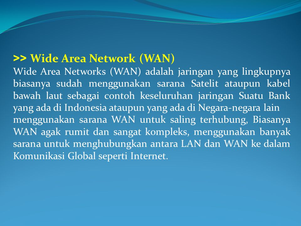 >> Wide Area Network (WAN)