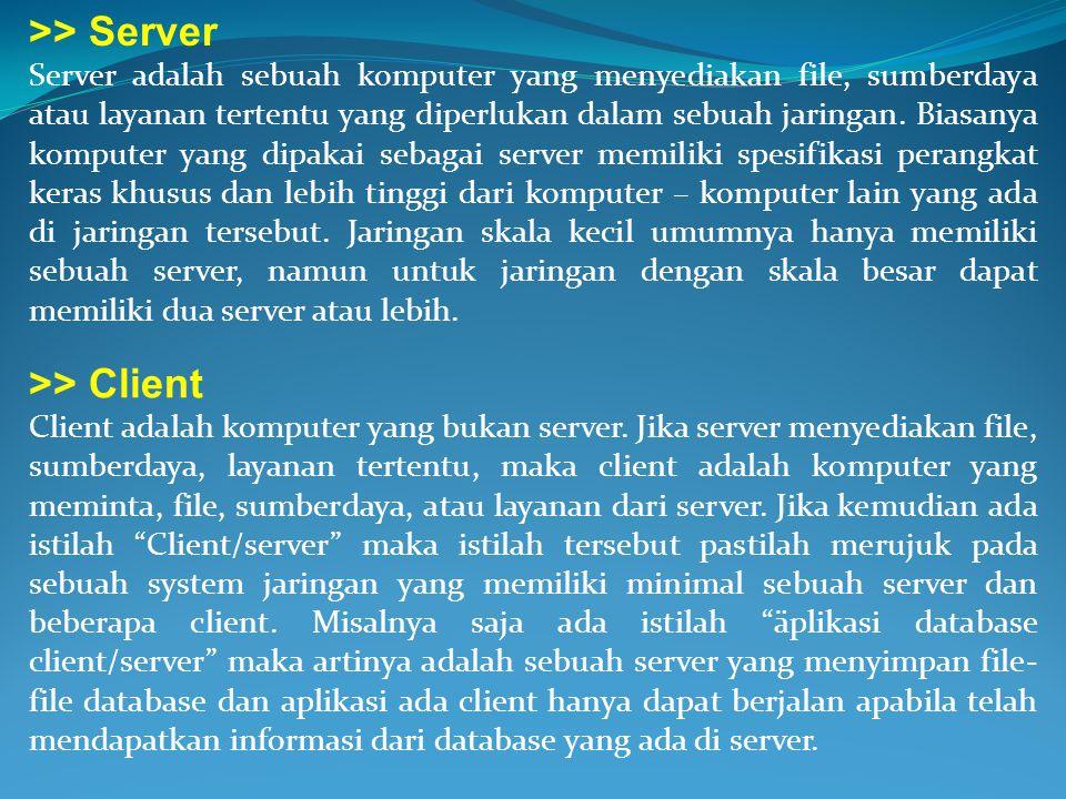 >> Server >> Client