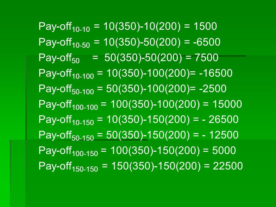 Pay-off10-10 = 10(350)-10(200) = 1500 Pay-off10-50 = 10(350)-50(200) = -6500. Pay-off50 = 50(350)-50(200) = 7500.