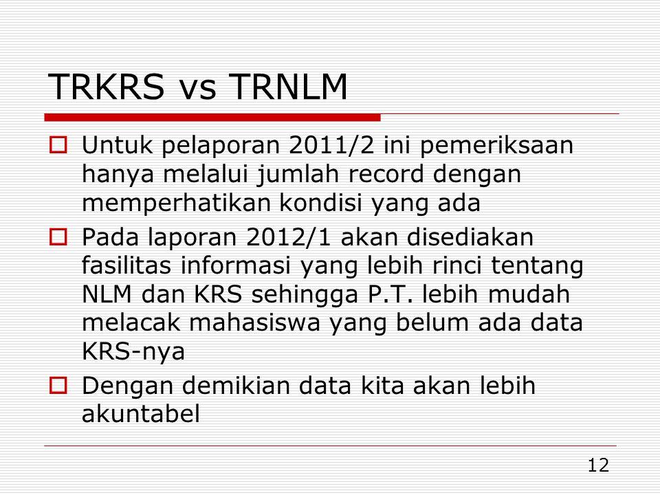 TRKRS vs TRNLM Untuk pelaporan 2011/2 ini pemeriksaan hanya melalui jumlah record dengan memperhatikan kondisi yang ada.