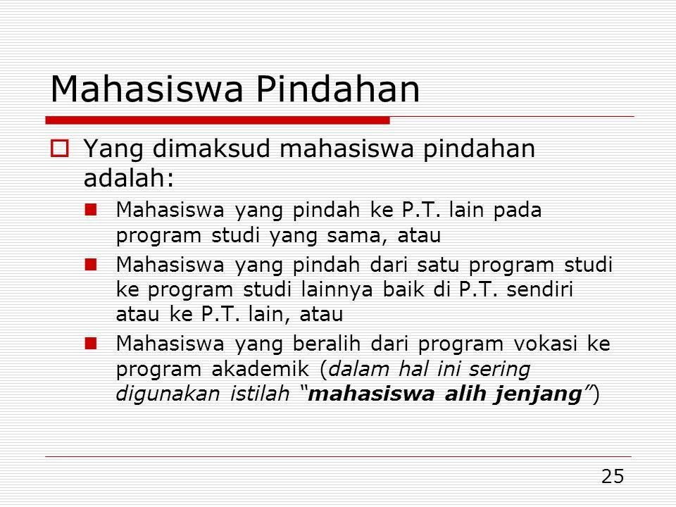 Mahasiswa Pindahan Yang dimaksud mahasiswa pindahan adalah: