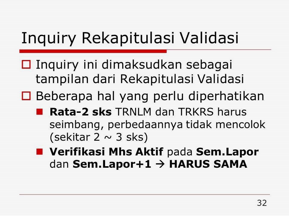 Inquiry Rekapitulasi Validasi