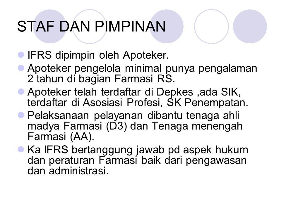 STAF DAN PIMPINAN IFRS dipimpin oleh Apoteker.