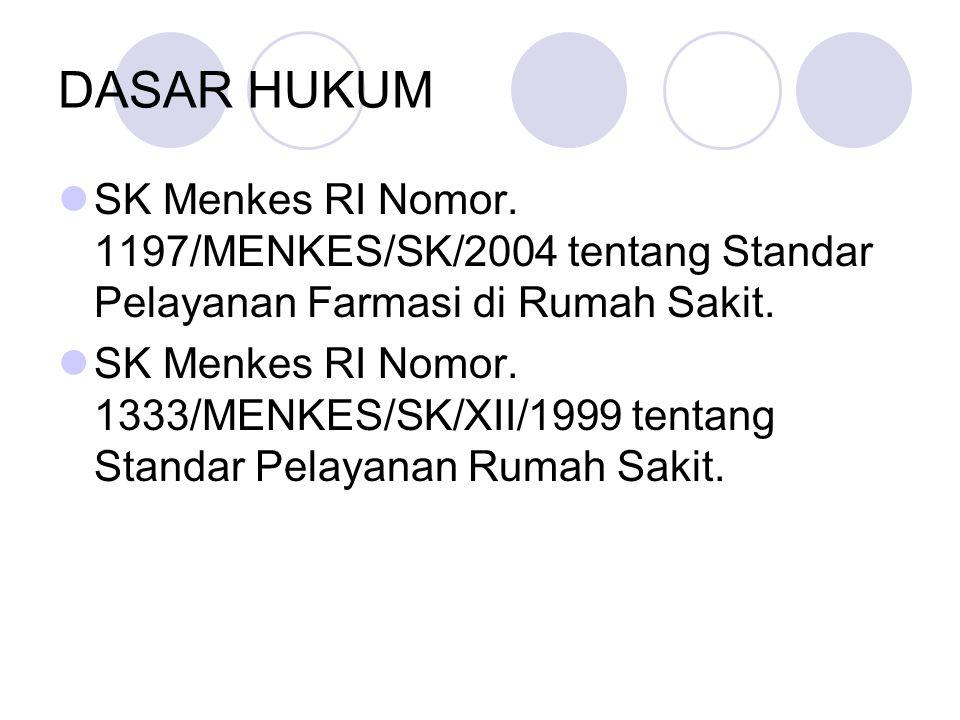 DASAR HUKUM SK Menkes RI Nomor. 1197/MENKES/SK/2004 tentang Standar Pelayanan Farmasi di Rumah Sakit.