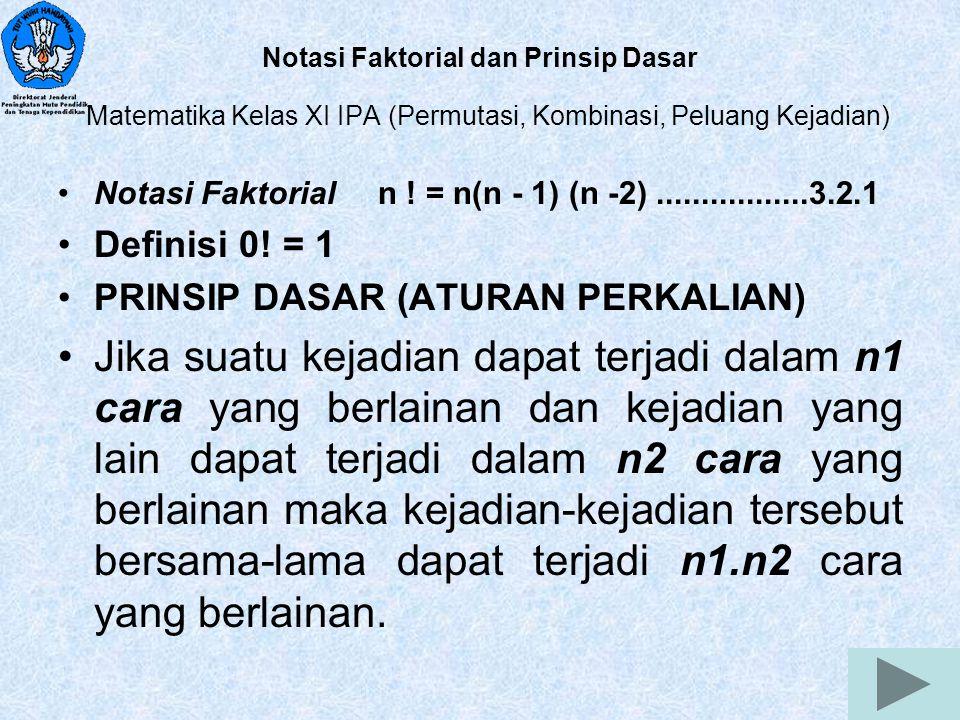 Notasi Faktorial dan Prinsip Dasar Matematika Kelas XI IPA (Permutasi, Kombinasi, Peluang Kejadian)