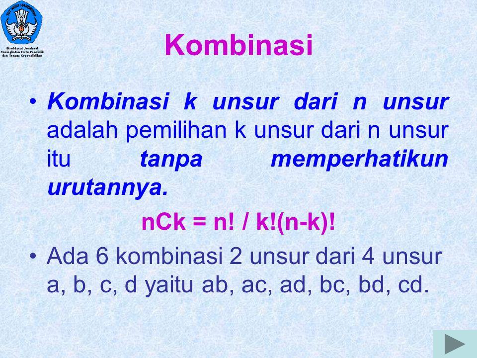 Kombinasi Kombinasi k unsur dari n unsur adalah pemilihan k unsur dari n unsur itu tanpa memperhatikun urutannya.