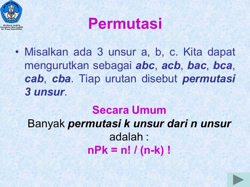 Banyak permutasi k unsur dari n unsur adalah :