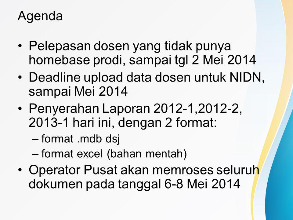 Pelepasan dosen yang tidak punya homebase prodi, sampai tgl 2 Mei 2014