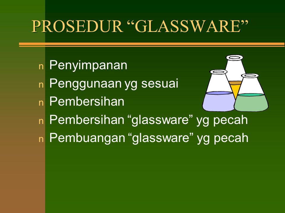 PROSEDUR GLASSWARE Penyimpanan Penggunaan yg sesuai Pembersihan