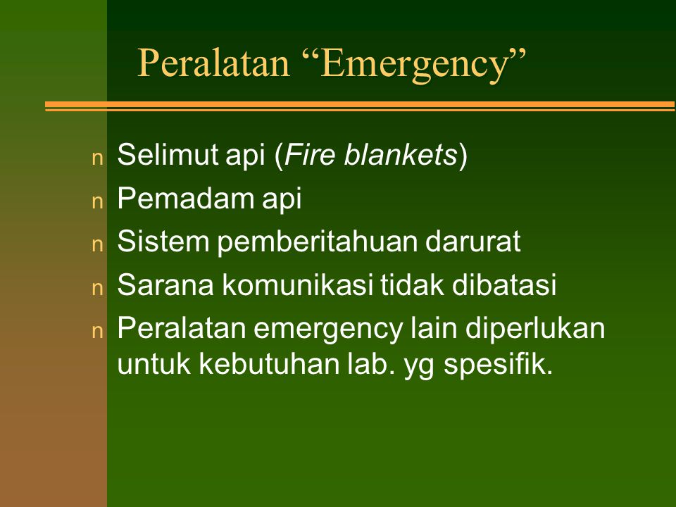 Peralatan Emergency