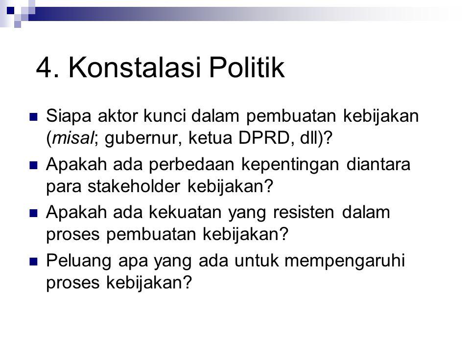 4. Konstalasi Politik Siapa aktor kunci dalam pembuatan kebijakan (misal; gubernur, ketua DPRD, dll)