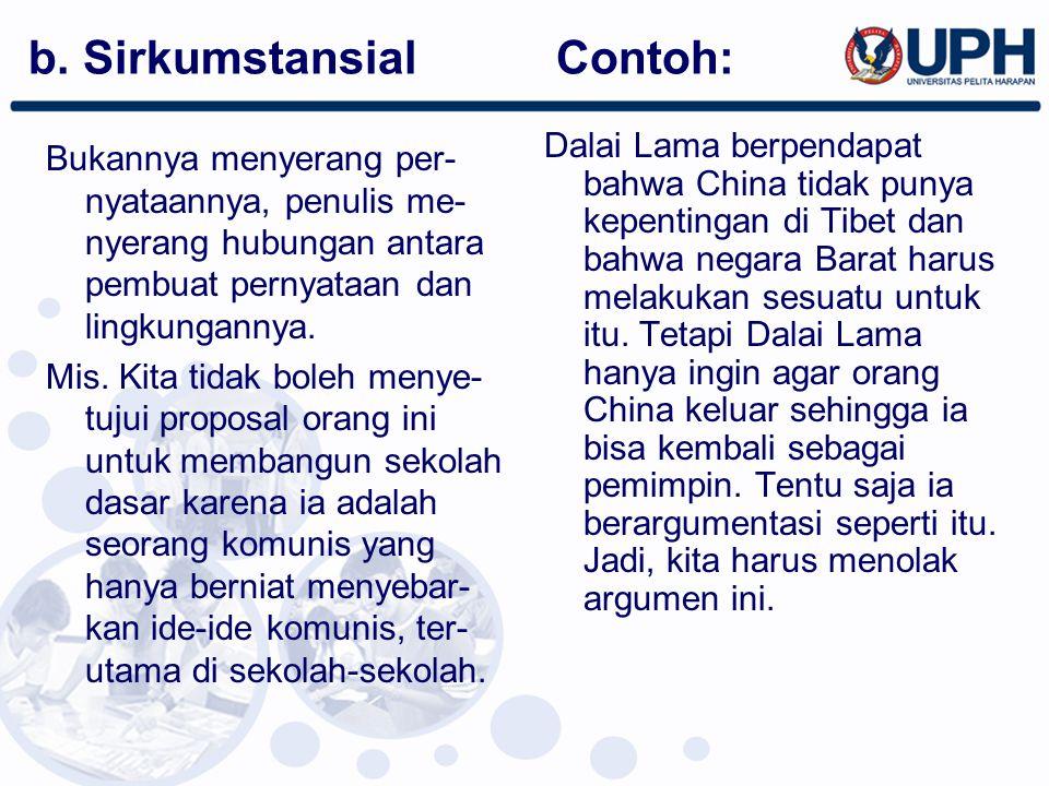 b. Sirkumstansial Contoh: