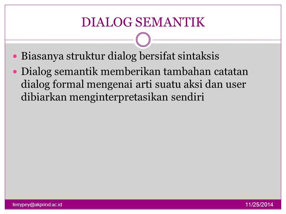 DIALOG SEMANTIK Biasanya struktur dialog bersifat sintaksis