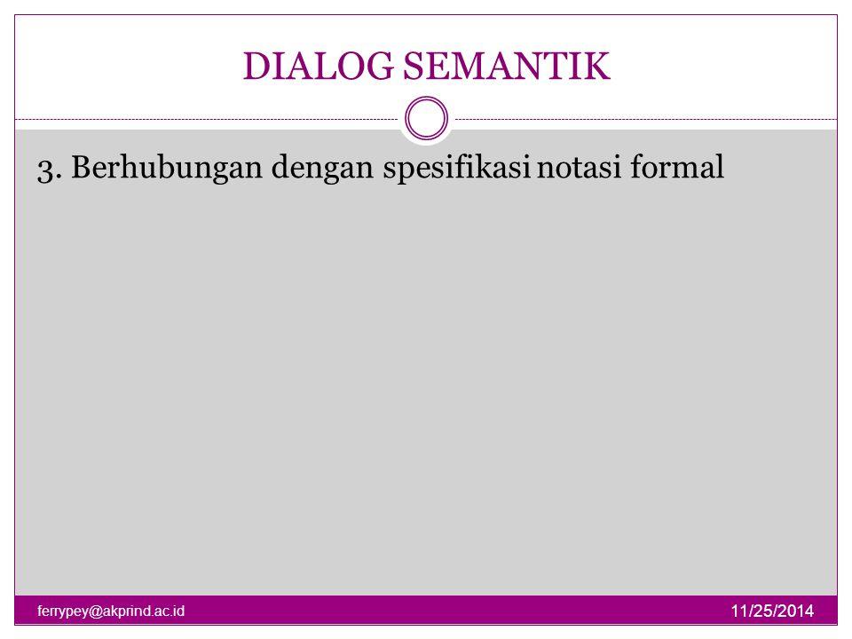 DIALOG SEMANTIK 3. Berhubungan dengan spesifikasi notasi formal