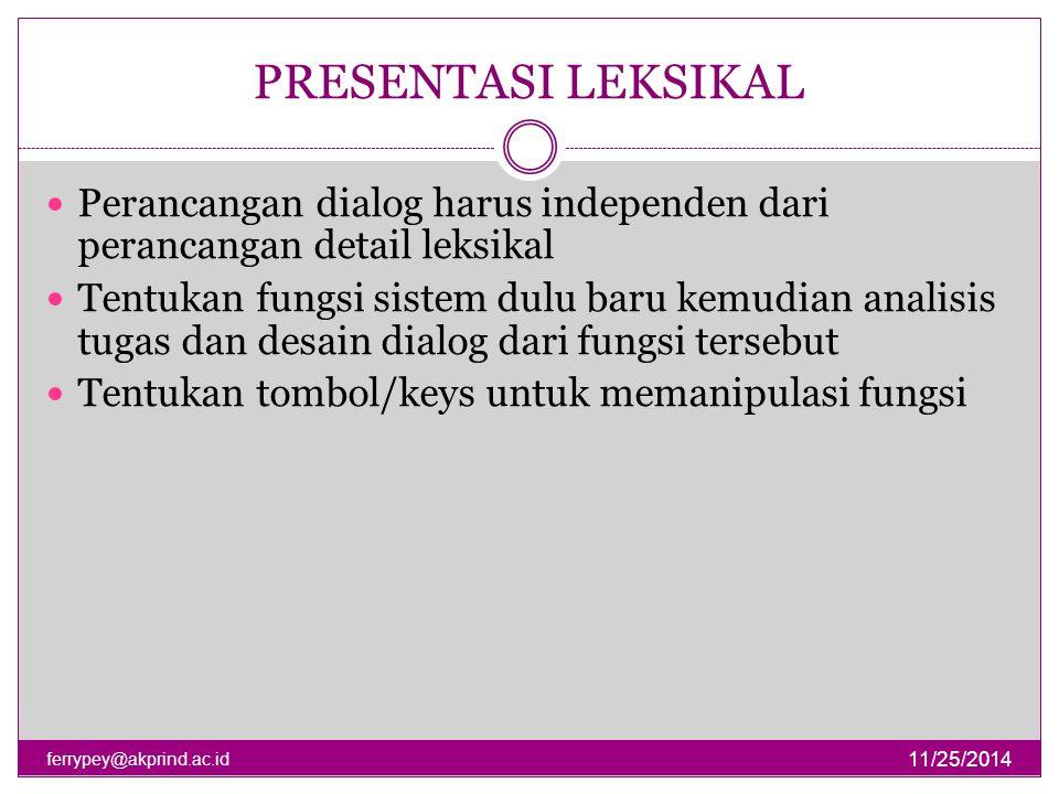 PRESENTASI LEKSIKAL Perancangan dialog harus independen dari perancangan detail leksikal.