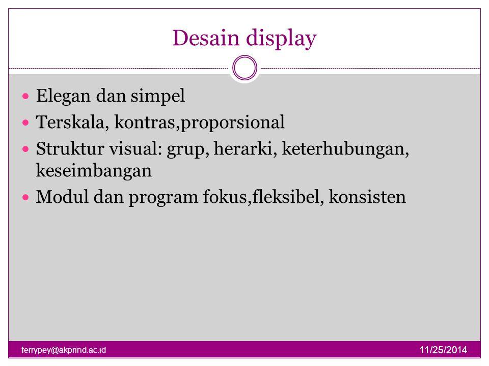 Desain display Elegan dan simpel Terskala, kontras,proporsional