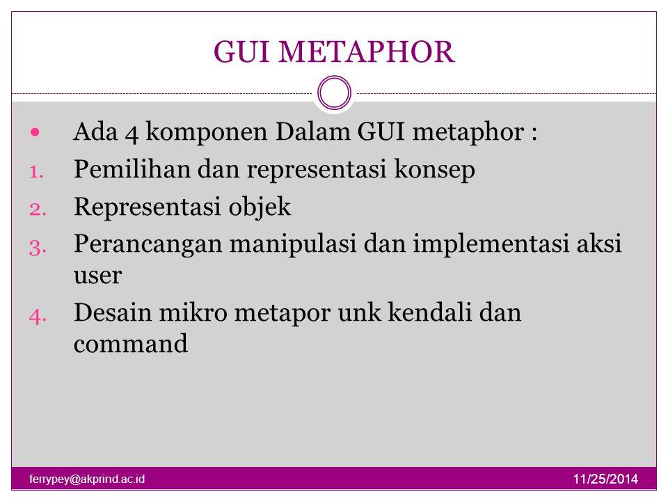 GUI METAPHOR Ada 4 komponen Dalam GUI metaphor :