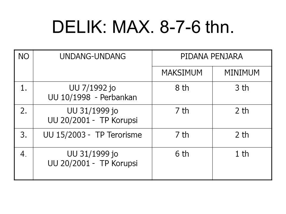 DELIK: MAX. 8-7-6 thn. NO UNDANG-UNDANG PIDANA PENJARA MAKSIMUM