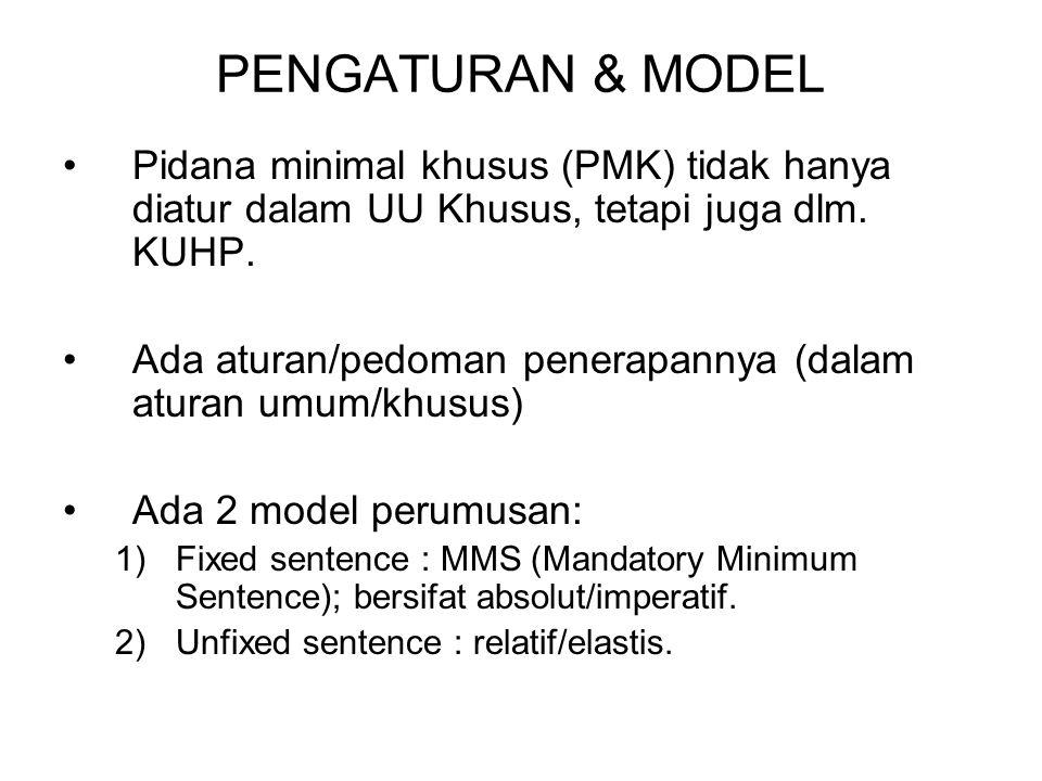 PENGATURAN & MODEL Pidana minimal khusus (PMK) tidak hanya diatur dalam UU Khusus, tetapi juga dlm. KUHP.