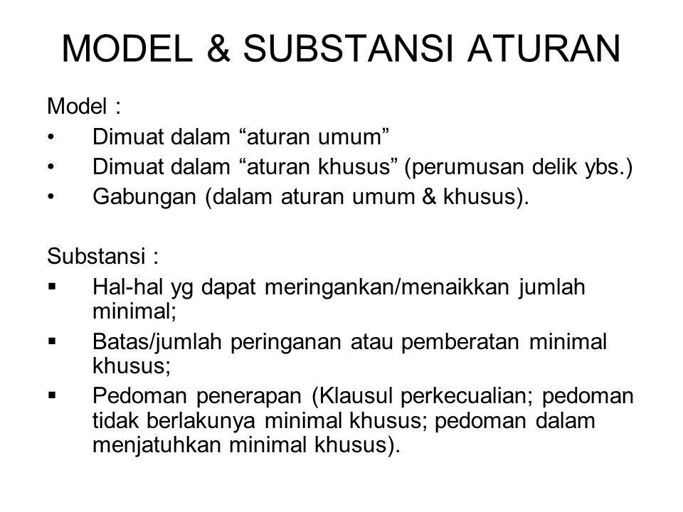MODEL & SUBSTANSI ATURAN