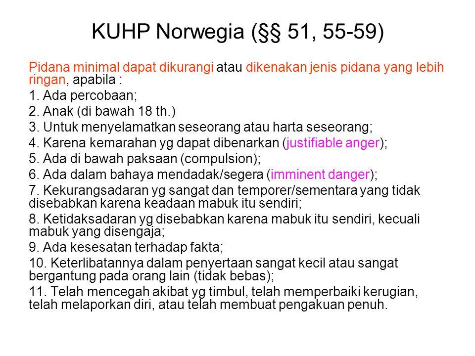 KUHP Norwegia (§§ 51, 55-59) Pidana minimal dapat dikurangi atau dikenakan jenis pidana yang lebih ringan, apabila :
