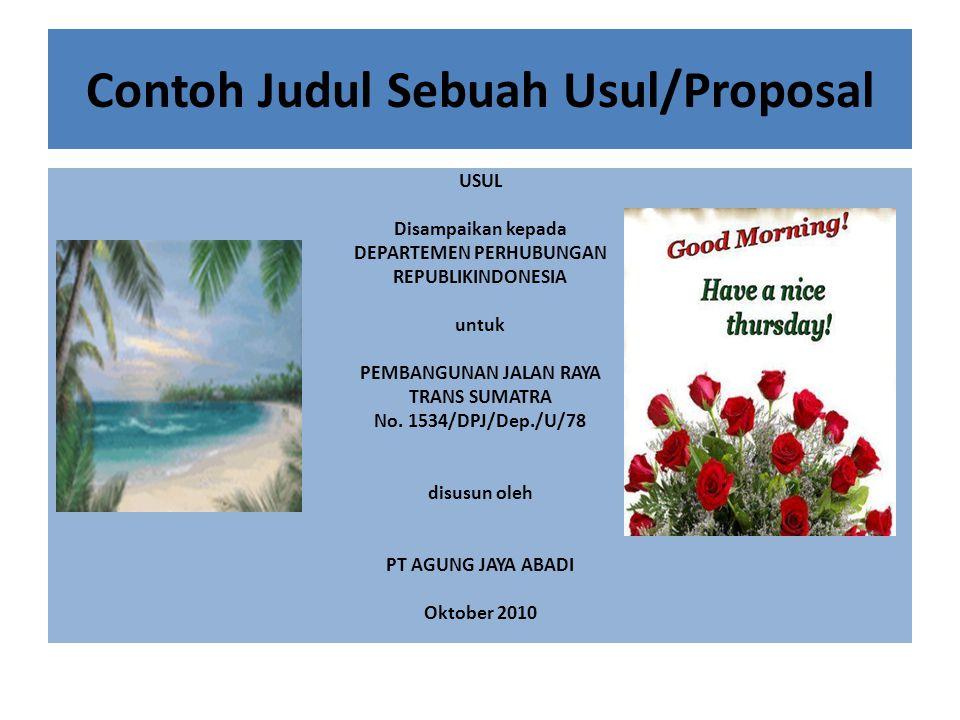 Contoh Judul Sebuah Usul/Proposal