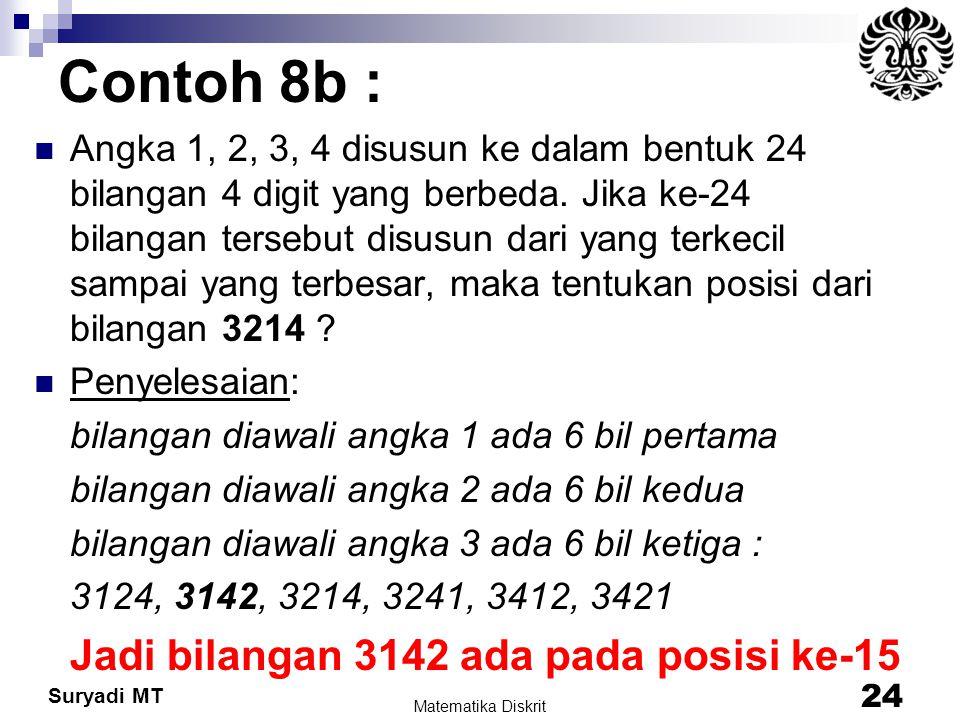 Contoh 8b : Jadi bilangan 3142 ada pada posisi ke-15
