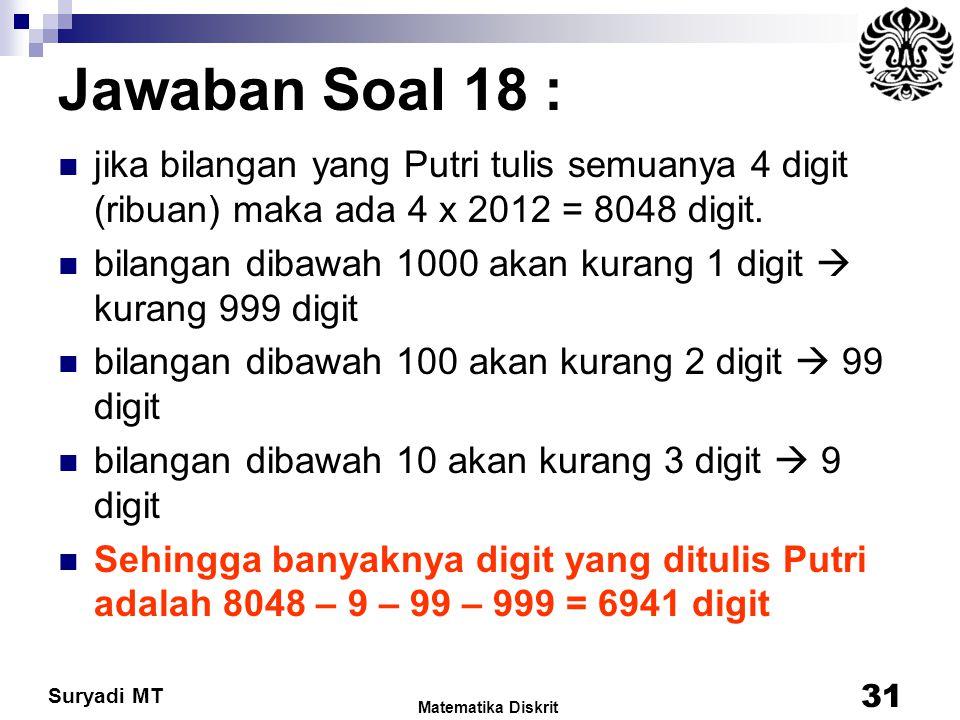 Jawaban Soal 18 : jika bilangan yang Putri tulis semuanya 4 digit (ribuan) maka ada 4 x 2012 = 8048 digit.