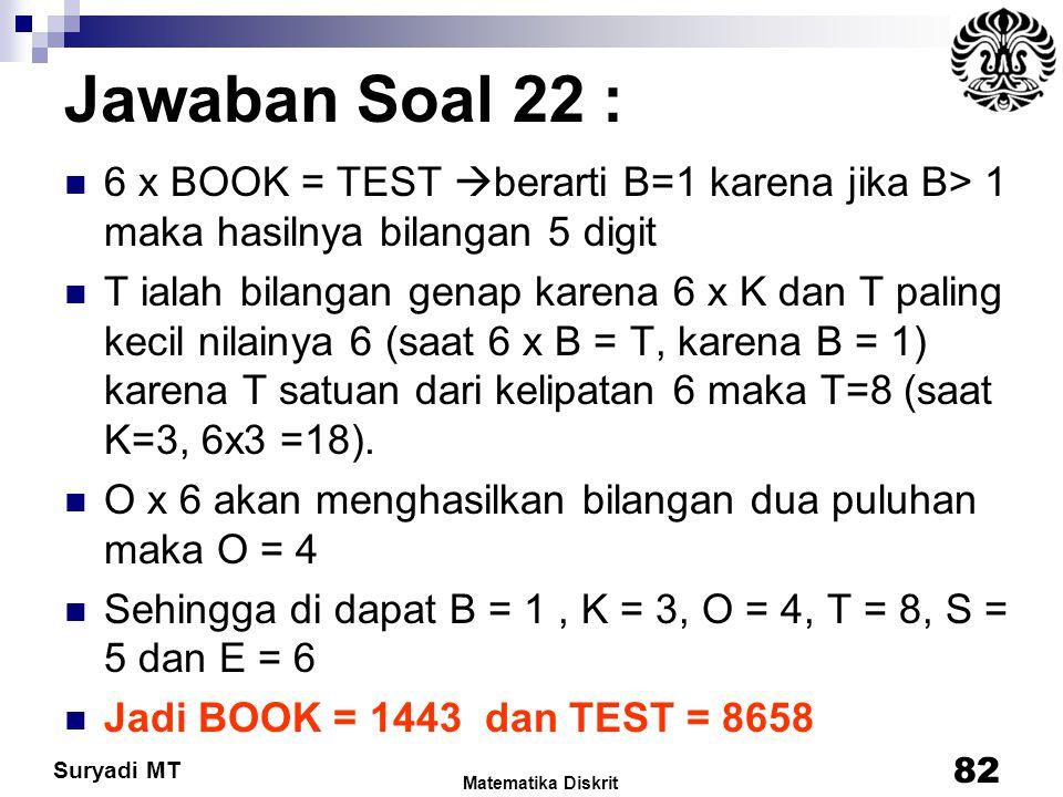 Jawaban Soal 22 : 6 x BOOK = TEST berarti B=1 karena jika B> 1 maka hasilnya bilangan 5 digit.