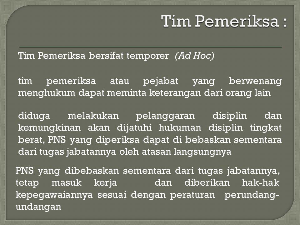 Tim Pemeriksa : Tim Pemeriksa bersifat temporer (Ad Hoc)