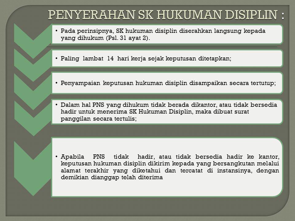 PENYERAHAN SK HUKUMAN DISIPLIN :