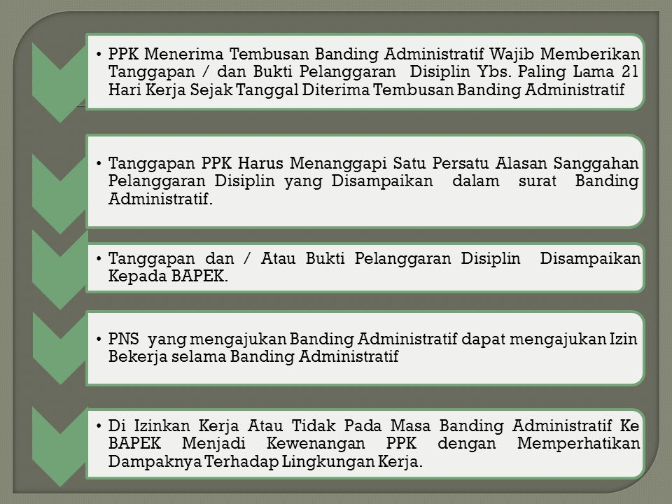 PPK Menerima Tembusan Banding Administratif Wajib Memberikan Tanggapan / dan Bukti Pelanggaran Disiplin Ybs. Paling Lama 21 Hari Kerja Sejak Tanggal Diterima Tembusan Banding Administratif