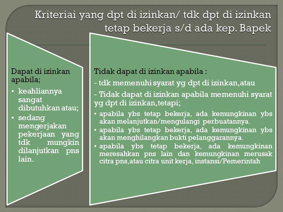 Kriteriai yang dpt di izinkan/ tdk dpt di izinkan tetap bekerja s/d ada kep. Bapek