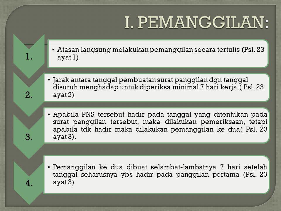 1. Atasan langsung melakukan pemanggilan secara tertulis (Psl. 23 ayat 1) 2.