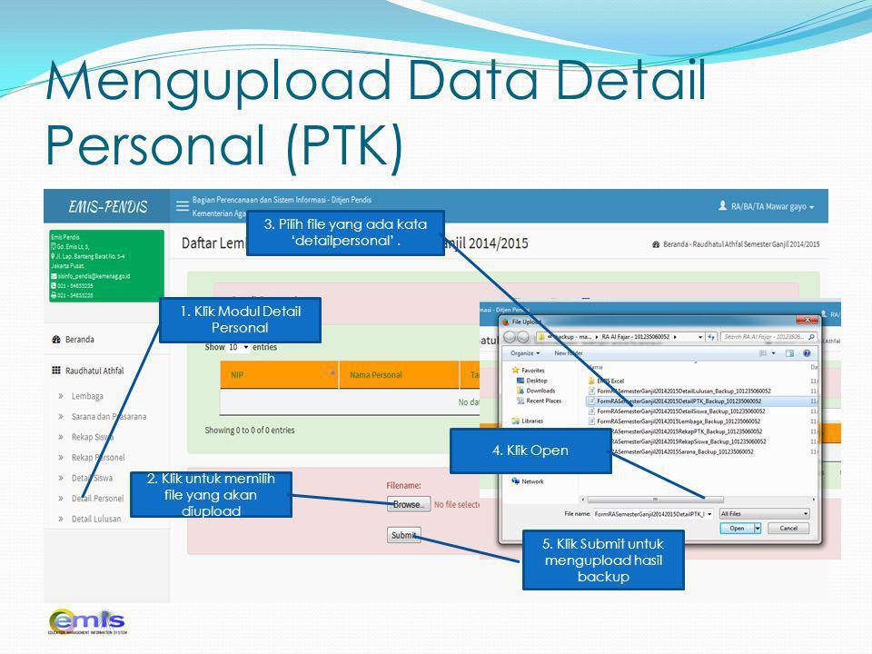 Mengupload Data Detail Personal (PTK)