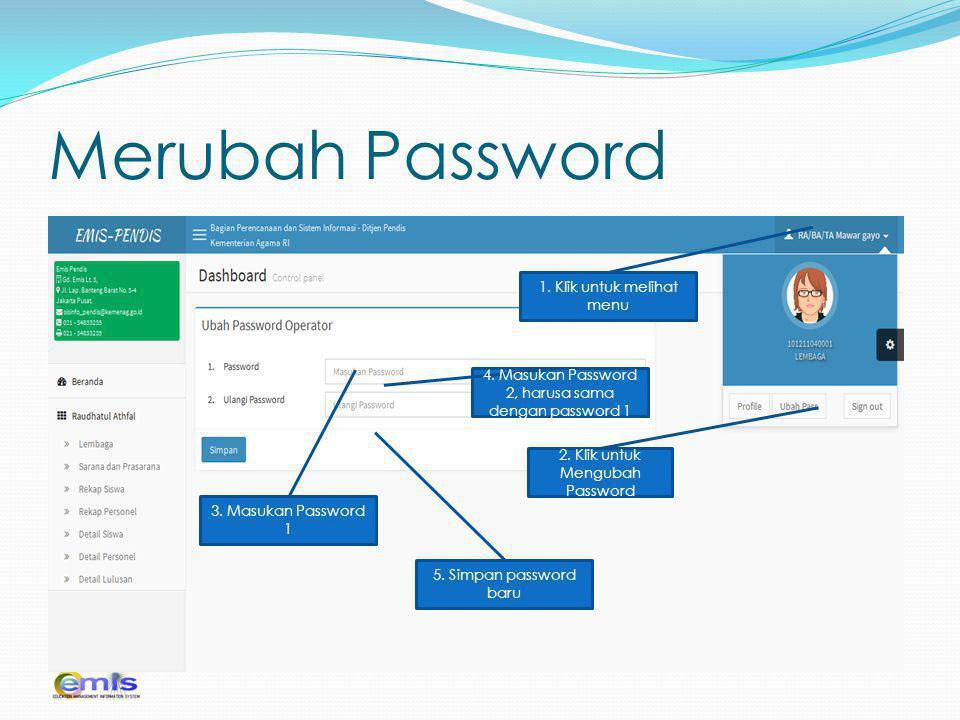 Merubah Password 1. Klik untuk melihat menu