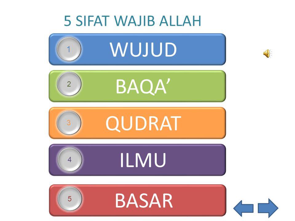 5 SIFAT WAJIB ALLAH WUJUD 1 BAQA' 2 QUDRAT 3 ILMU 4 BASAR 5