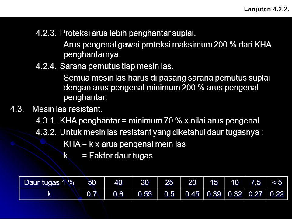 4.2.3. Proteksi arus lebih penghantar suplai.