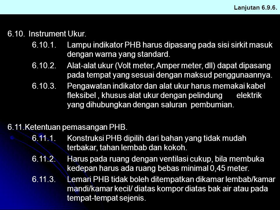 6.11.Ketentuan pemasangan PHB.