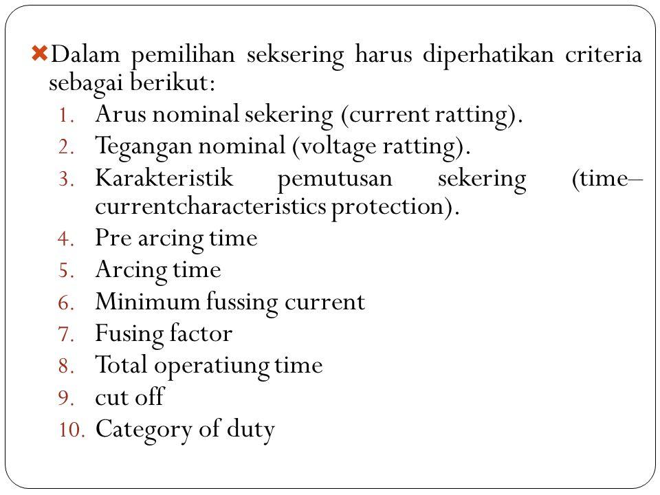 Dalam pemilihan seksering harus diperhatikan criteria sebagai berikut: