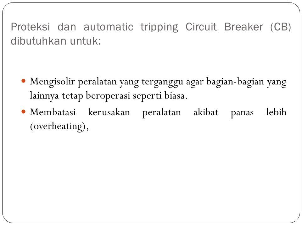 Proteksi dan automatic tripping Circuit Breaker (CB) dibutuhkan untuk: