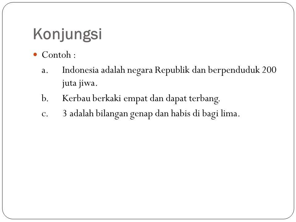 Konjungsi Contoh : a. Indonesia adalah negara Republik dan berpenduduk 200 juta jiwa. b. Kerbau berkaki empat dan dapat terbang.