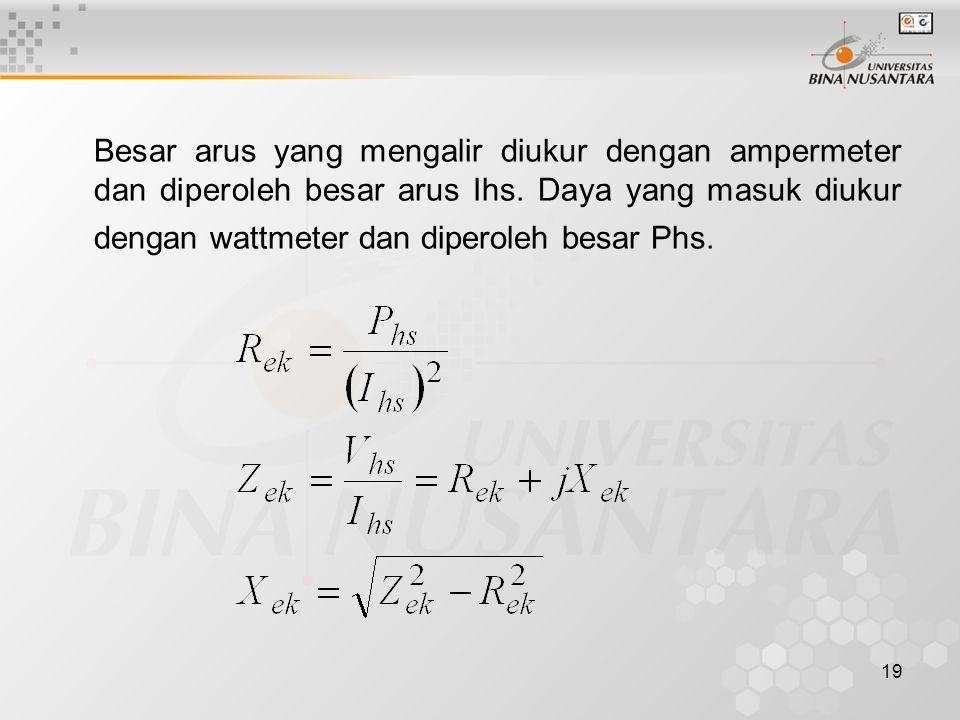 Besar arus yang mengalir diukur dengan ampermeter dan diperoleh besar arus Ihs.
