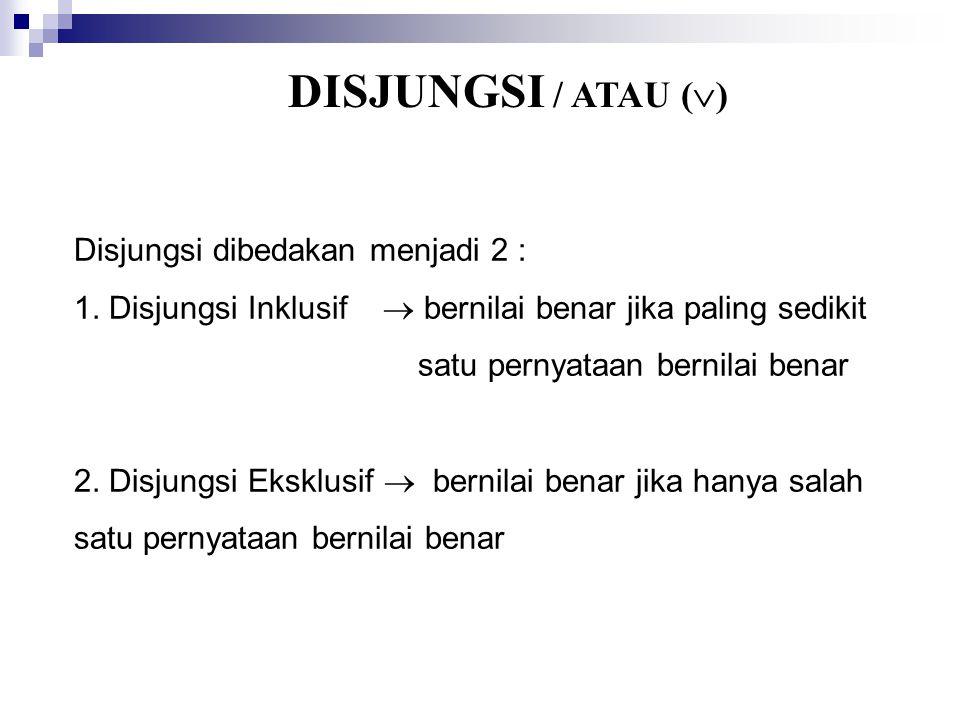 DISJUNGSI / ATAU ()
